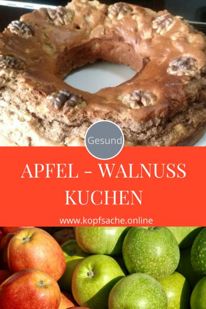 Gesunder Apfel-Walnuss Kuchen nach Familienrezept. Wenig Zucker und Fett. Gesund backen.