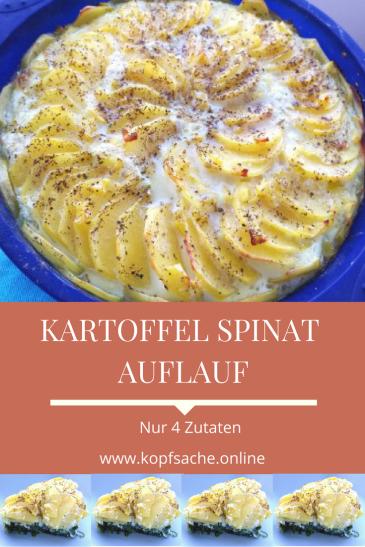 Rezept - Gesunder Kartoffel-Spinat Auflauf - Einfach & Schnell mit nur 4 Zutaten